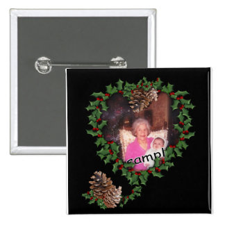 Heart Wreath on Black Pinback Buttons