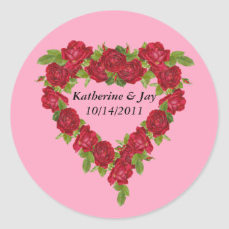 Heart Wreath Red Roses Classic Round Sticker