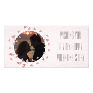 Heart Wreath Valentines Day Pink Photo Card Template
