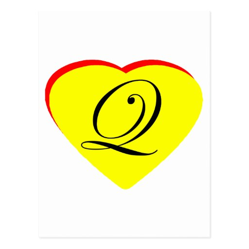 Heart Yellow Red Q Wedding Invitation The MUSEUM Z Post Card