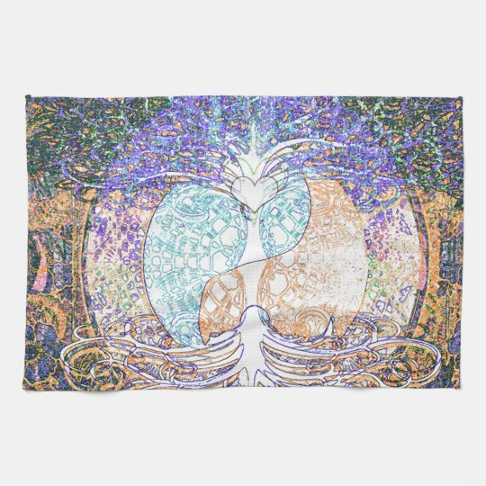 Heart, yin yang, tree of life by Amelia Carrie Hand Towels