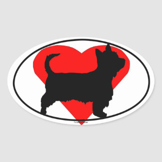 Heart Yorkshire Terrier Silhouette Oval Sticker