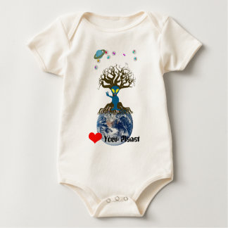 Heart Your Planet! Alien Peace Sign Baby Bodysuit