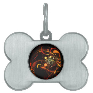 Heartbeat Abstract Art Pet ID Tag