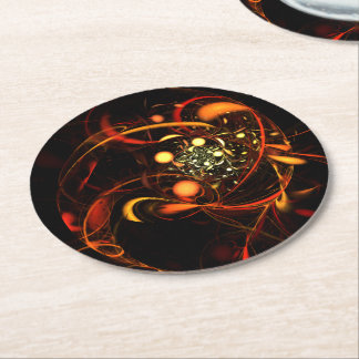 Heartbeat Abstract Art Round Paper Coaster