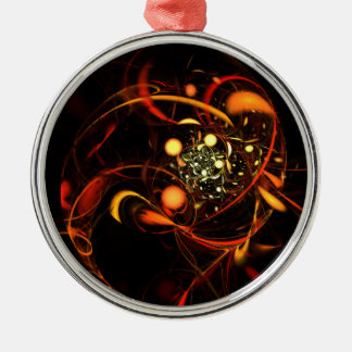 Heartbeat Abstract Art Round Silver-Colored Round Ornament