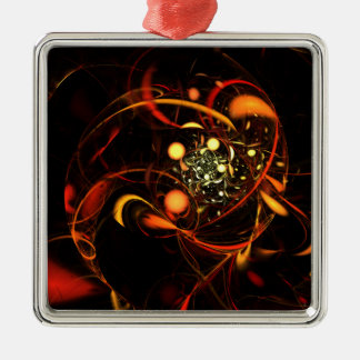 Heartbeat Abstract Art Square Metal Ornament