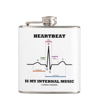 Heartbeat Is My Internal Music EKG Sinus Rhythm Hip Flask