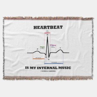Heartbeat Is My Internal Music EKG Sinus Rhythm Throw Blanket