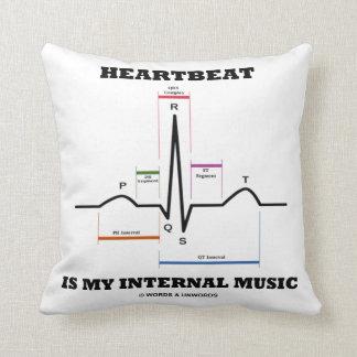 Heartbeat Is My Internal Music EKG Sinus Rhythm Throw Pillow