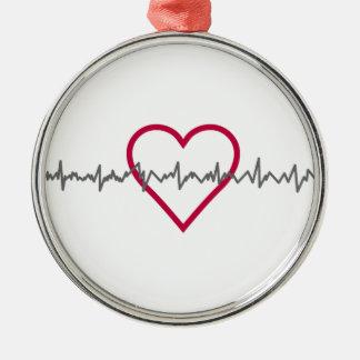 Heartbeat Silver-Colored Round Ornament