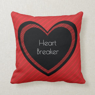 Heartbreaker Red and Black   Throw Pillow