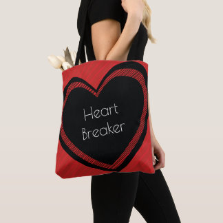 Heartbreaker Red and Black   Tote Bag