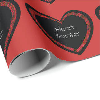 Heartbreaker Red and Black   Wrapping Paper