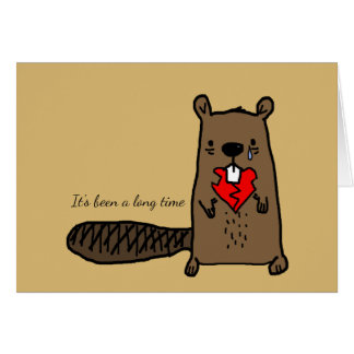 Heartbroken Beaver With Gnawed Heart & Custom Text Card