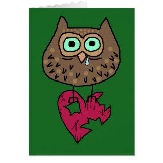 Heartbroken Owl With Torn Heart & Custom Text Card
