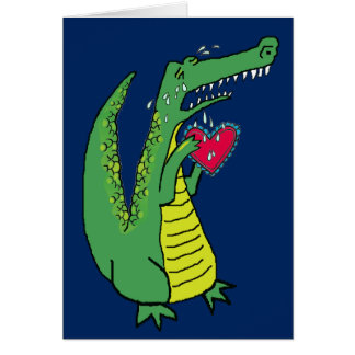 Heartbroken Whimsical Alligator Custom Text Card