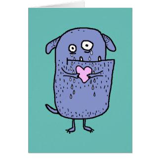 Heartbroken Whimsical Cartoon Dog Custom Text Card