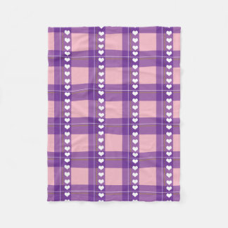 Hearted checked pattern fleece blanket