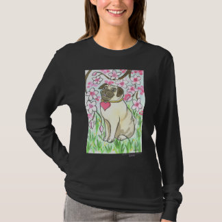 Hearted Pug with Cherry Blossoms T-Shirt