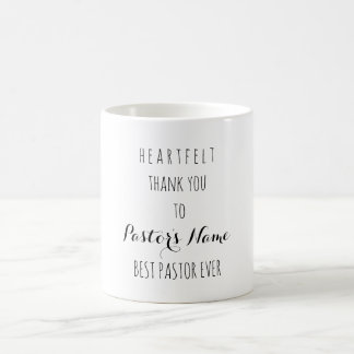 Heartfelt Thank You Best Pastor Ever Typography Coffee Mug