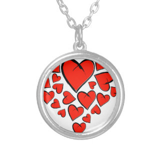 Heartinella - flying hearts silver plated necklace
