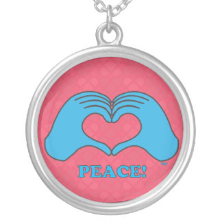 HeartMark Heart Hands Peace Silver Plated Necklace