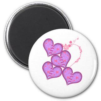 Hearts 2 Inch Round Magnet
