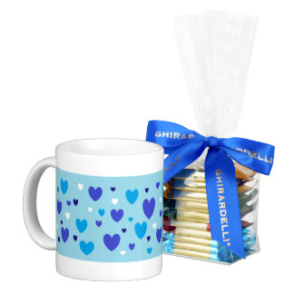 Hearts A-Scatter Blue and White Hearts Coffee Mug