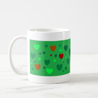 Hearts A-Scatter Camo-Style Hearts on Green Coffee Mug
