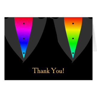 Hearts Aglow with Pride Gay Wedding Thank You Card