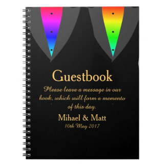 Hearts Aglow with Pride Guestbook for Gay Weddings Spiral Notebook