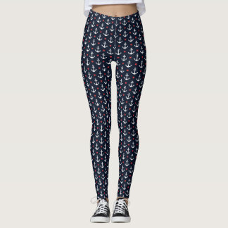 Hearts And Anchors Pattern Leggings