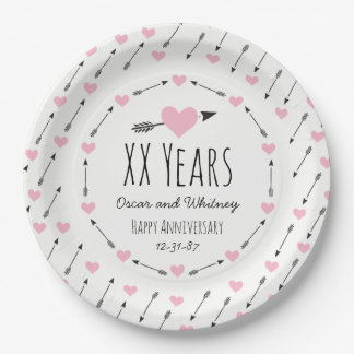 Hearts and Arrows Personalized Wedding Anniversary 9 Inch Paper Plate