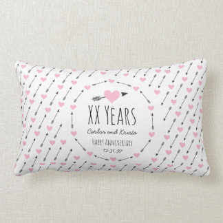 Hearts and Arrows Personalized Wedding Anniversary Lumbar Pillow