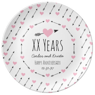 Hearts and Arrows Personalized Wedding Anniversary Porcelain Plate