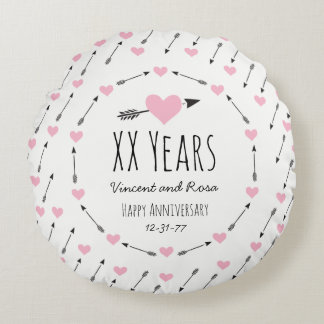 Hearts and Arrows Personalized Wedding Anniversary Round Pillow