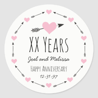 Hearts and Arrows Personalized Wedding Anniversary Round Sticker