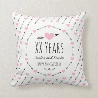 Hearts and Arrows Personalized Wedding Anniversary Throw Pillow