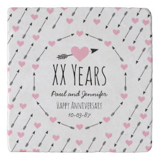 Hearts and Arrows Personalized Wedding Anniversary Trivet