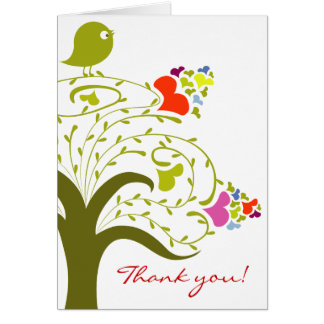 Hearts And Birdie On A Cute Tree Thank You Card