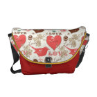 Hearts and Birds Messenger Bag