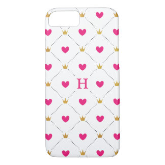 Hearts and Crowns Pink Pattern iPhone 7 Case