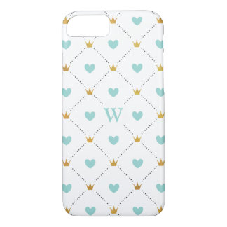 Hearts and Crowns Teal Pattern iPhone 7 Case