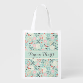 Hearts and Dragonflies Pretty Floral Grocery Bag