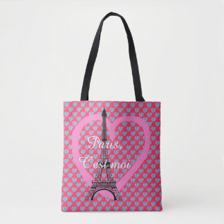 Hearts and eiffel tower paris tote bag