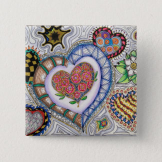 Hearts and Flowers (2 inch pin) 2 Inch Square Button