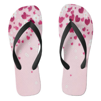 hearts and flowers flip flops