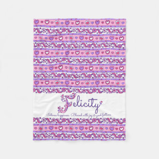 Hearts and flowers letter F Felicity name meaning Fleece Blanket