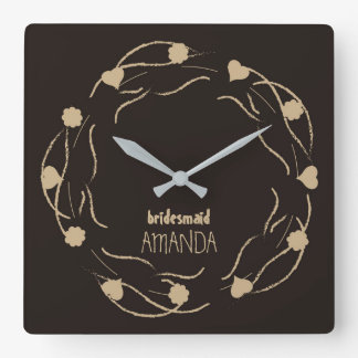 Hearts And Flowers Ornaments Bridesmaid Clock